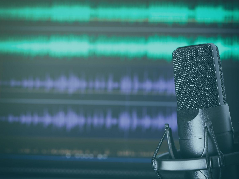 Podcast Mikrofon vor Schnittprogramm
